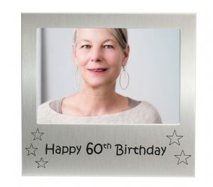 Happy 60th Birthday - Photo Frame Gift - Photo Size 5 x 3.5 Inches (13 x 9 cm) - Brushed Aluminium Satin Silver Colour.
